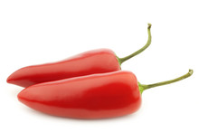 Two Red Jalapeno Peppers On A White Background