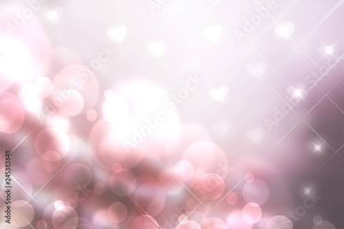 Abstract valentine background. Abtract festive blur pink bright pastel background with hearts and bokeh lights for valentine or wedding. Romantic textured backdrop with space for your design.