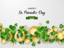 St. Patricks Day Card. 3d Clov...