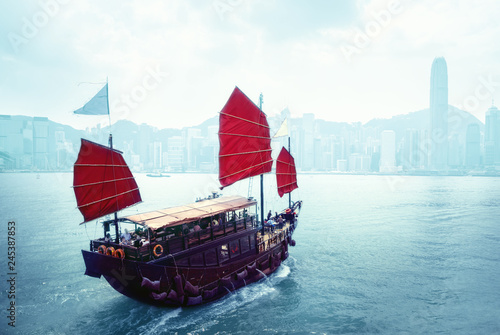 Foto op Canvas Aziatische Plekken Hong Kong harbour, China