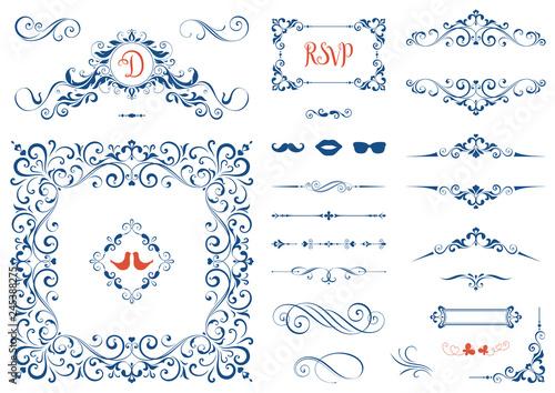 Vintage ornate frames, decorative ornaments, flourish and scroll elements Wallpaper Mural