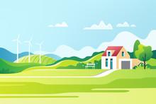 Spring Rural Landscape. Suburban Traditional  House. Family Home. Vector Illustration.