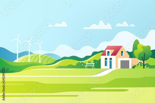 Obraz Spring rural landscape. Suburban traditional  house. Family home. Vector illustration. - fototapety do salonu