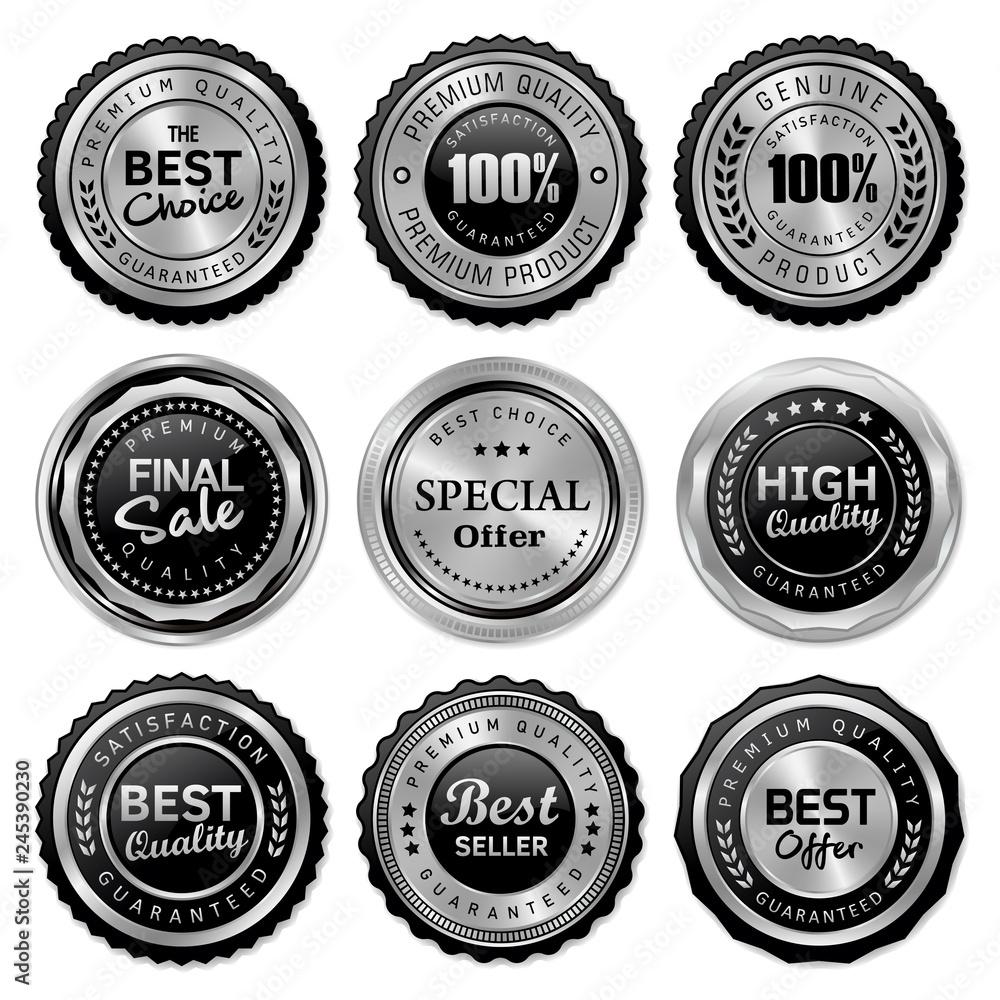 Fototapeta set of quality badges and labels