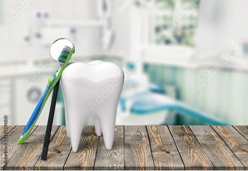 Valokuva  Dentist human teeth toothbrush dental hygiene white isolated
