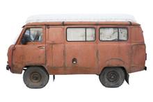 Old Orange Minibus With A Snow...