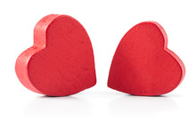 Two Red Wooden Hearts Isolated...