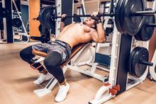 Muscular Bodybuilder Bench Press Workout In Modern Gym