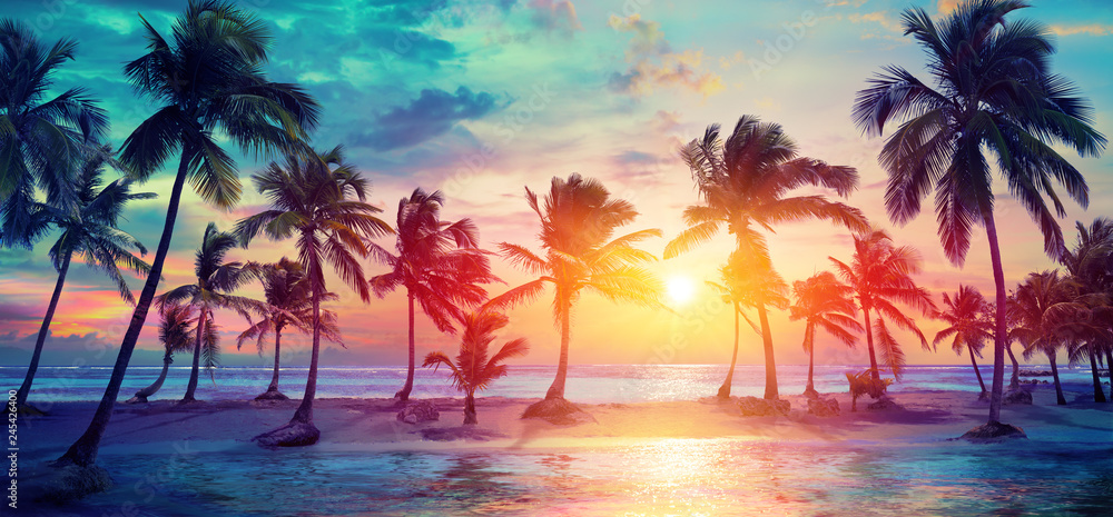 Fototapety, obrazy: Palm Trees Silhouettes On Tropical Beach At Sunset - Modern Vintage Colors
