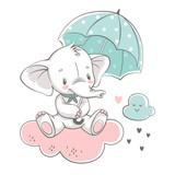 Fototapeta Fototapety na ścianę do pokoju dziecięcego - Vector illustration of a cute baby elephant, sitting on the cloud with green umbrella.