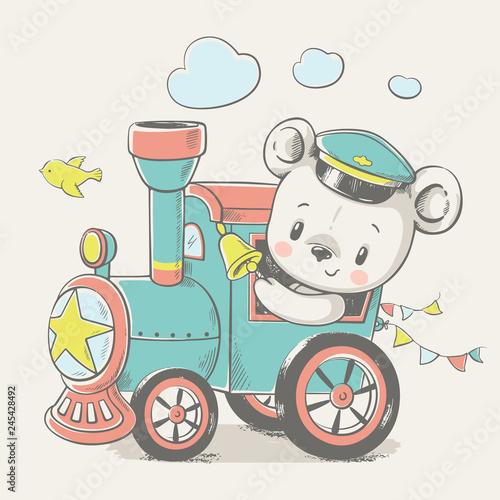 Fototapeta premium Ilustracja kreskówka wektor słodkiego misia, prowadząc lokomotywę.