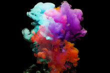 Abstract Ink Splash Isolated On Black Background