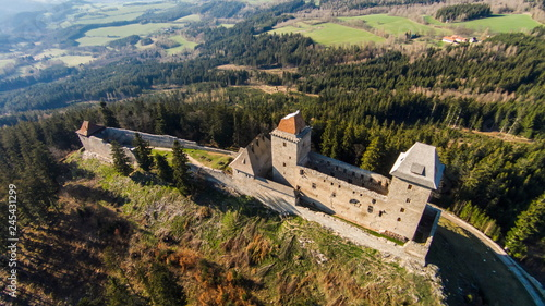 Poster Con. Antique Ruins of Castle Kasperk aerial view. The Czech Republic, Europe .
