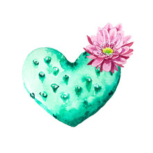 Watercolor Heart Cactus With F...
