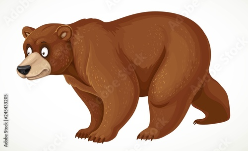 Fotografia Cute cartoon bear stands on four legs isolated on white background