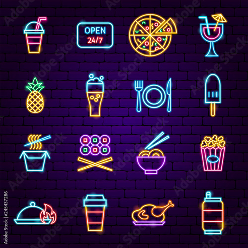 Fast Food Menu Neon Icons