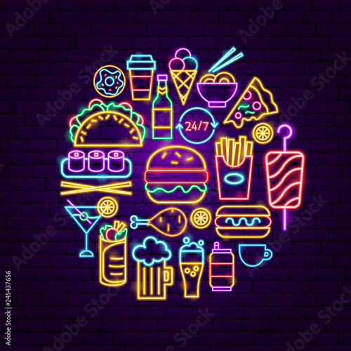 fast food neon concept buy this stock vector and explore similarfast food neon concept