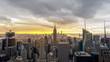 Grattacieli di New York con Empire State Building al tramonto