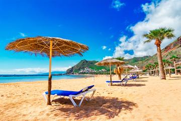 Las Teresitas, Tenerife, Canary islands, Spain: Scenic image of Playa de Las Teresitas, a famous beach near Santa Cruz de Tenerife with scenic San Andres village
