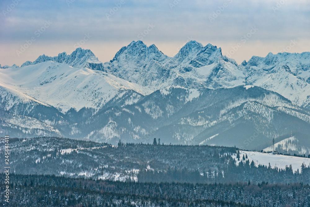 Fototapety, obrazy: Tatry zimą, Rysy, pejzaż górski
