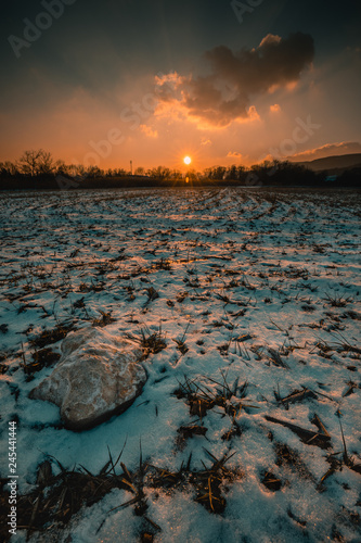 Poster Natuur snowy winter landscape - sunset in the snow fields in lower austria