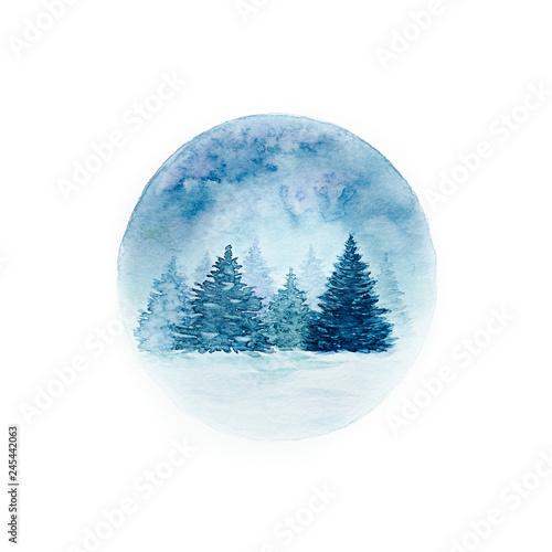 Cadres-photo bureau Aquarelle la Nature Winter Forest. Hand painted illustration. Christmas card.