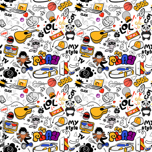 Vector graffiti seamless texture with bizarre elements and characters with social media signs and other shiny icons. Print fabric vector pattern with pop art patches for print, children's room.