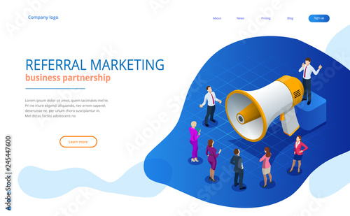 Fotografía  Isometric Referral marketing, network marketing, referral program strategy, referring friends, business partnership, affiliate marketing concept