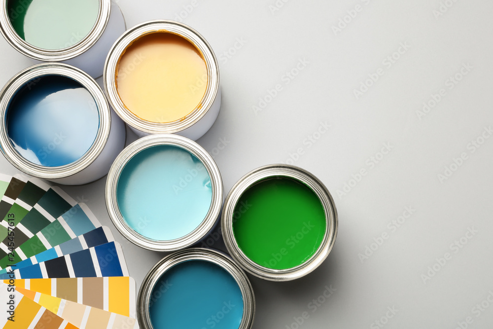 Fototapety, obrazy: Paint cans and color palette on white background, top view. Space for text