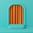 Minimal concept green color podium with orange color curtain for product. 3d rendering