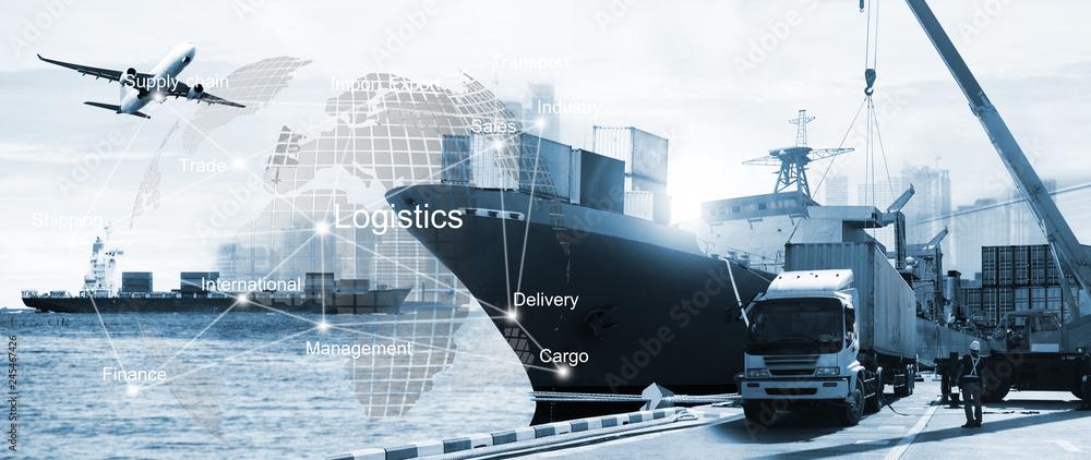 Fototapeta business of worldwide ,  Transportation ,  import-export, logistic