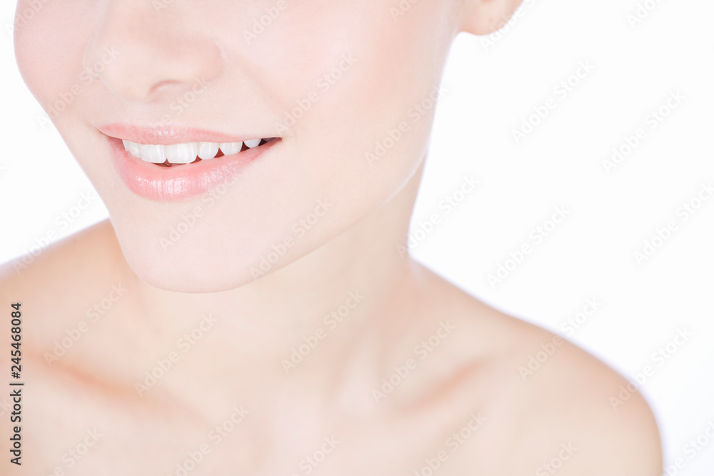 Fototapety, obrazy: Studio beauty shot with young smiling woman with perfect teeth