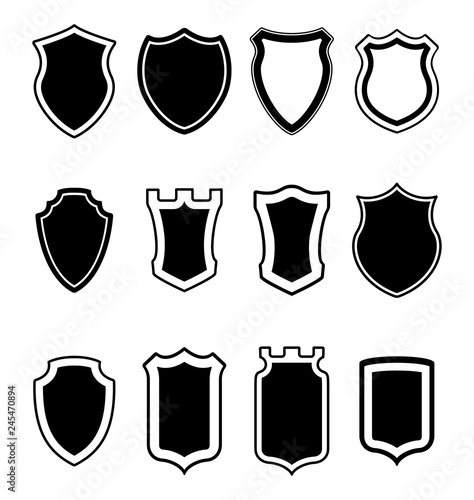 Heraldic shield shapes collection  Crests silhouettes for signs