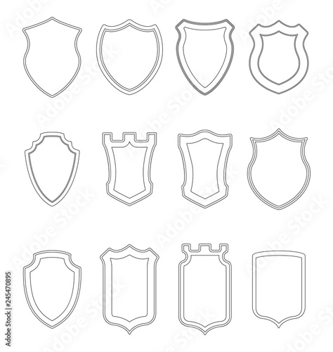 Heraldic shield contours collection  Crests silhouettes for signs