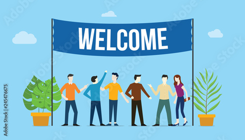 welcome sign board welcomes concept with business team people with big banner on top with green tree plants - vector