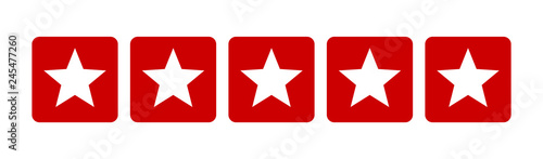 Valokuva Five stars customer product rating review flat red icon for apps and websites