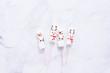 Marshmallow snowmen on sticks