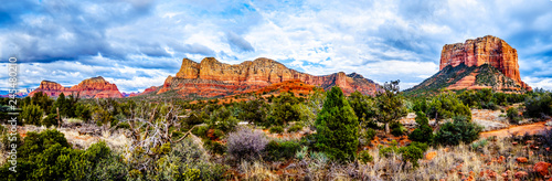 Canvas Prints Arizona Panorama of the red rock mountains of the Munds Mountain Wilderness and Courthouse Butte near Sedona in Northern Arizona in Coconino National Forest in the United States
