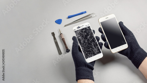 Photo  Technician or engineer prepairing to repair and replace new screen broken and cr