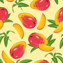 Seamless Pattern With Mango And Green Leaves On Yellow Background. Vector Illustration Of Tropical Fruits In Cartoon Flat Style.