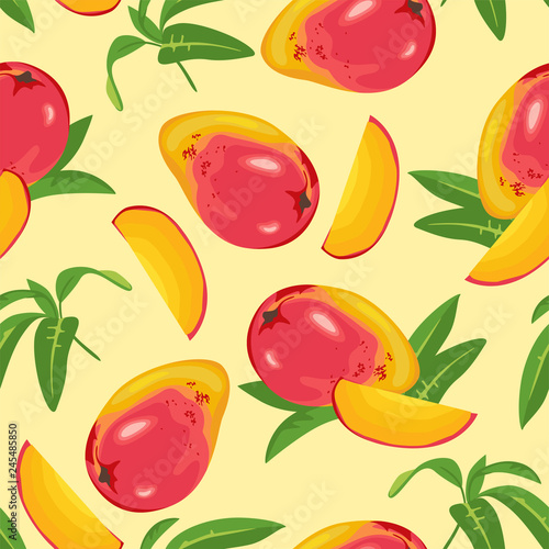 fototapeta na ścianę Seamless pattern with mango and green leaves on yellow background. Vector illustration of tropical fruits in cartoon flat style.
