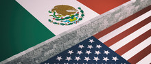 Border Wall Between US Of America And Mexico Flags. 3d Illustration