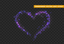 Purple Heart Of Glitter Light Effect. Glowing Sparkling Particles On Transparent Background. Sparkle Stardust. Vector Illustration.