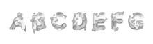 Paper Cut Letter A, B, C, D, E, F, G. Design 3d Sign Isolated On White Background. Alphabet Font Of Melting Liquid