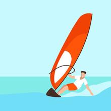 Man To Windsurf ,vector Illust...