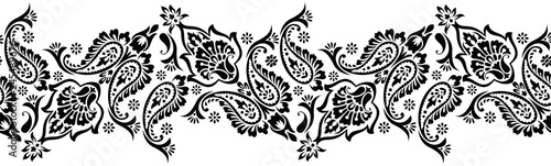 Seamless black and white traditional indian paisley border