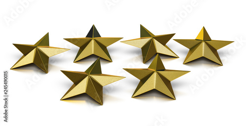 Photographie  3D illustration of six golden stars over white background