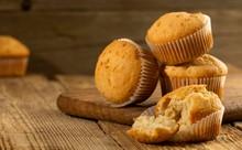 Vanilla Cupcake, Homemade Cakes On Wooden Background