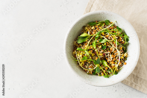 Sprouts of different seeds with green leaf in bowl