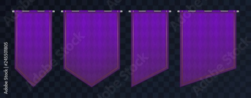 Fototapeta Set of violet royal medieval banners. Pennant templates with iron poles and gold elements. Empty flags with texture and pattern. Eps10 vector obraz